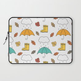 cute lovely autumn pattern with umbrellas, rain, clouds, leaves and boots Laptop Sleeve