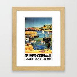 Vintage St. Ives Cornwall England Travel Framed Art Print