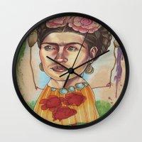 frida Wall Clocks featuring FRIDA by busymockingbird