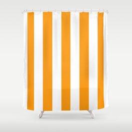 Kumquat orange - solid color - white vertical lines pattern Shower Curtain