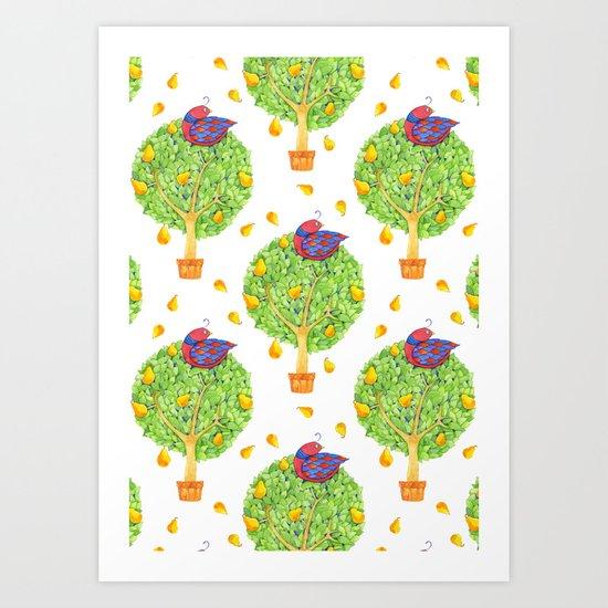 Partridge in a Pear Tree Pattern Art Print