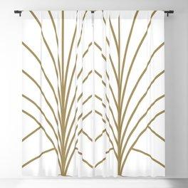 Round Series Floral Burst Gold on White Blackout Curtain