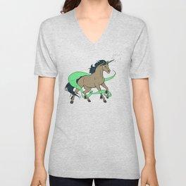 Magical Unicorn (Tan and Navy) Unisex V-Neck