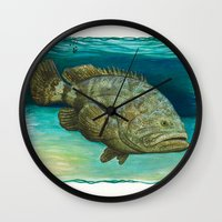 biology Wall Clocks featuring Goliath Grouper ~ Watercolor by Amber Marine