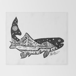 """""""Trout Dreams"""" Hand Drawn Double Exposure Fishing Camping Art Throw Blanket"""