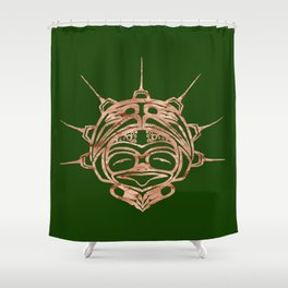 Copper Frog Grass Shower Curtain