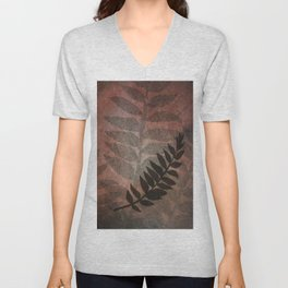 Pantone Living Coral Abstract Grunge with Fern Leaf - Foliage Silhouettes Unisex V-Neck