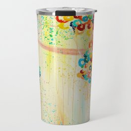 SUMMER IN BLOOM - Beautiful Abstract Acrylic Painting Vibrant Rainbow Floral Nature Theme  Travel Mug