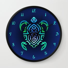 Tribal Turtle Ombre Background Wall Clock
