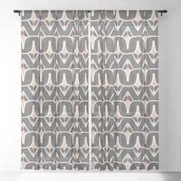 BAOBAB - abstract ethnic boho pattern tan chocolate brown grey Sheer Curtain