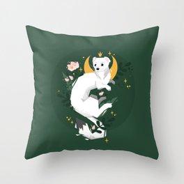 Magic Moon Stoat Throw Pillow