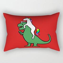 Unicorn Riding T-Rex (Red Background) Rectangular Pillow