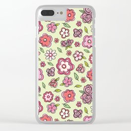 Whimsical Spring Flowers Clear iPhone Case