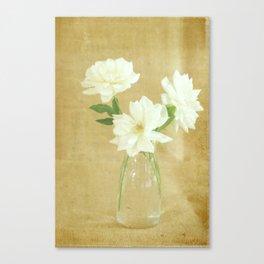Burlap and Roses Canvas Print