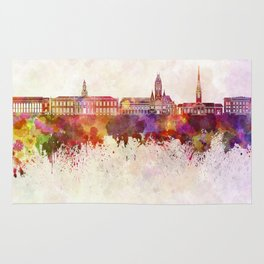 Harvard skyline in watercolor background Rug