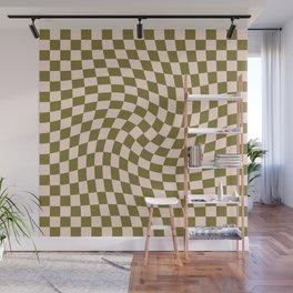 Check VI - Green Twist — Checkerboard Print Wall Mural