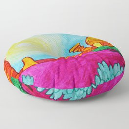 Watercolor Desert scene pink sand and sage brush Floor Pillow