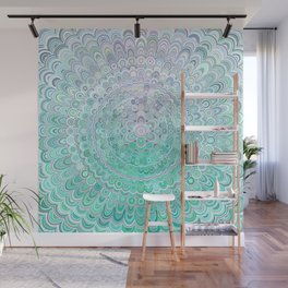 Turquoise Ice Flower Mandala Wall Mural