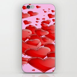 RED CANDY VALENTINE HEARTS IN PINK ART iPhone Skin