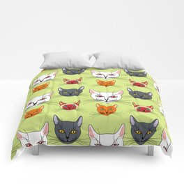 Various colored cats Comforters