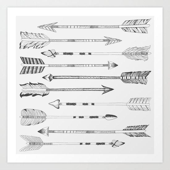 Hand drawn arrows Art Print