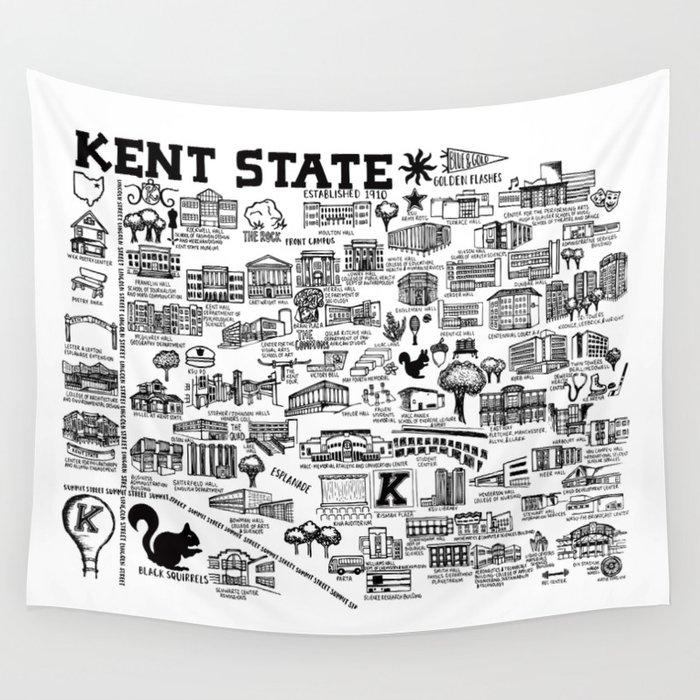 Kent State University Map Wall Tapestry by fiberandgloss on