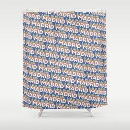 Madrid, Spain Trendy Rainbow Text Pattern (Blue) Shower Curtain
