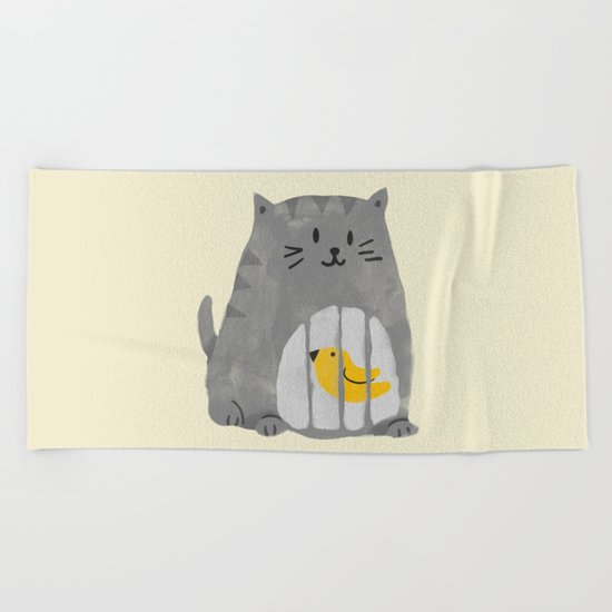 A cat that swallows a bird Beach Towel