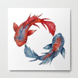 Yin Yang Koi Fish Metal Print