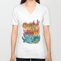barcelona V-neck T-shirts featuring Barcelona by Geek World