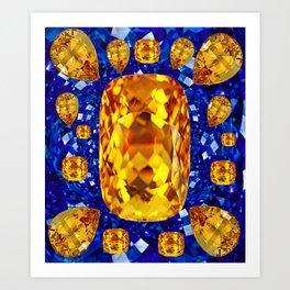 October Topaz & Blue Sapphire September Birthstone Gems Art Print