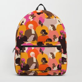 Female diverse faces pink Backpack