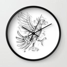 Cuauhtli Glifo Eagle Fighting Stance Tattoo Wall Clock