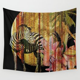Zebras Lilies and a Harvest Moon Wall Tapestry