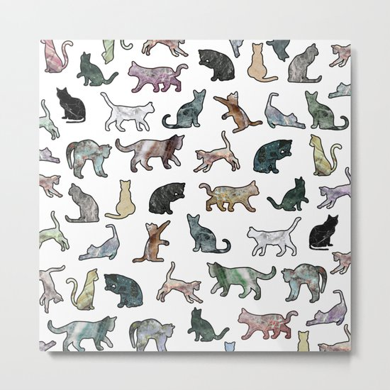 Cats shaped Marble - White Metal Print