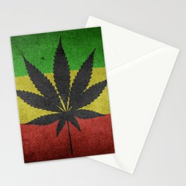 Green yellow and red color Cannabis Marijuana flag Stationery Cards
