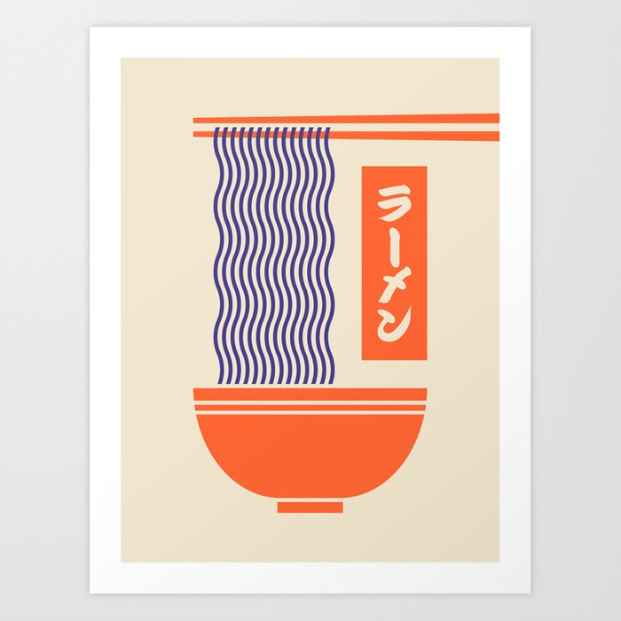 Ramen Japanese Food Noodle Bowl Chopsticks - Cream Kunstdrucke