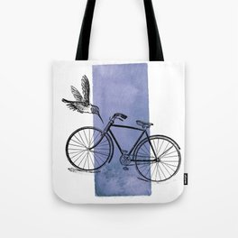 Humming Bird and Bicycle on Purple Watercolor Wash Tote Bag