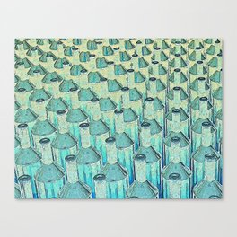 Abstract Green Glass Bottles Canvas Print