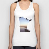 minnesota Tank Tops featuring Lake Minnesota by Keaton