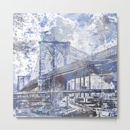 Brooklyn Bridge New York USA Watercolor blue Illustration Metal Print