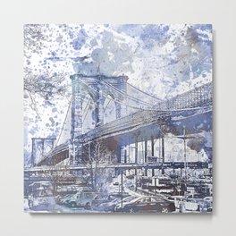 Brooklyn Bridge New York USA Watercolor blue Illustration Metal Print