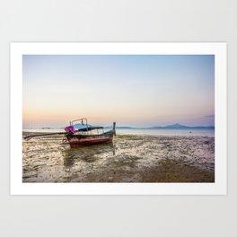 Boat on mudflats at dawn, Cape Yamu, Phuket, Thailand Art Print