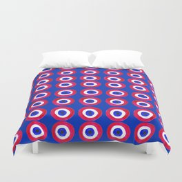 Donut Evil Eye Amulet Talisman - red on blue doughnut Duvet Cover