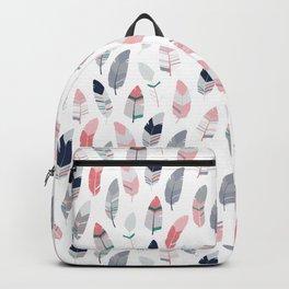 Feathers pattern. Scandinavian design. Light version Backpack