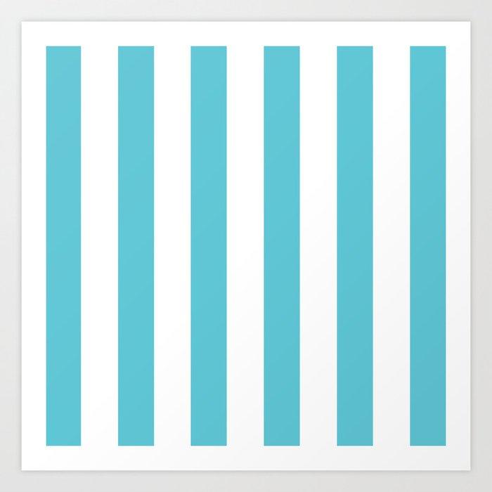 Simply Vertical Stripes in Seaside Blue Art Print