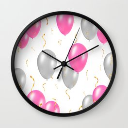 Happy party pattern, with pink, silver balloons, gold confetti. Wall Clock