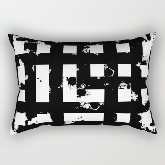 Splatter Hatch - Black and white, abstract hatched pattern Rectangular Pillow