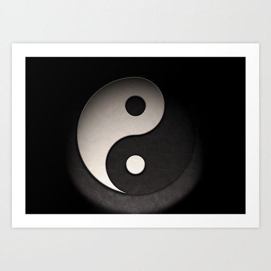 Yin Yang Symbol In Leather Texture Art Print