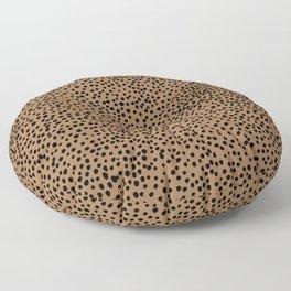 Little wild cheetah spots animal print neutral home trend rust copper black  Floor Pillow